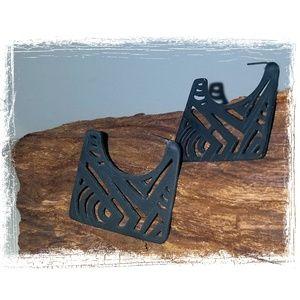 Matte Black Earrings Aztec Tribal Geometric Native